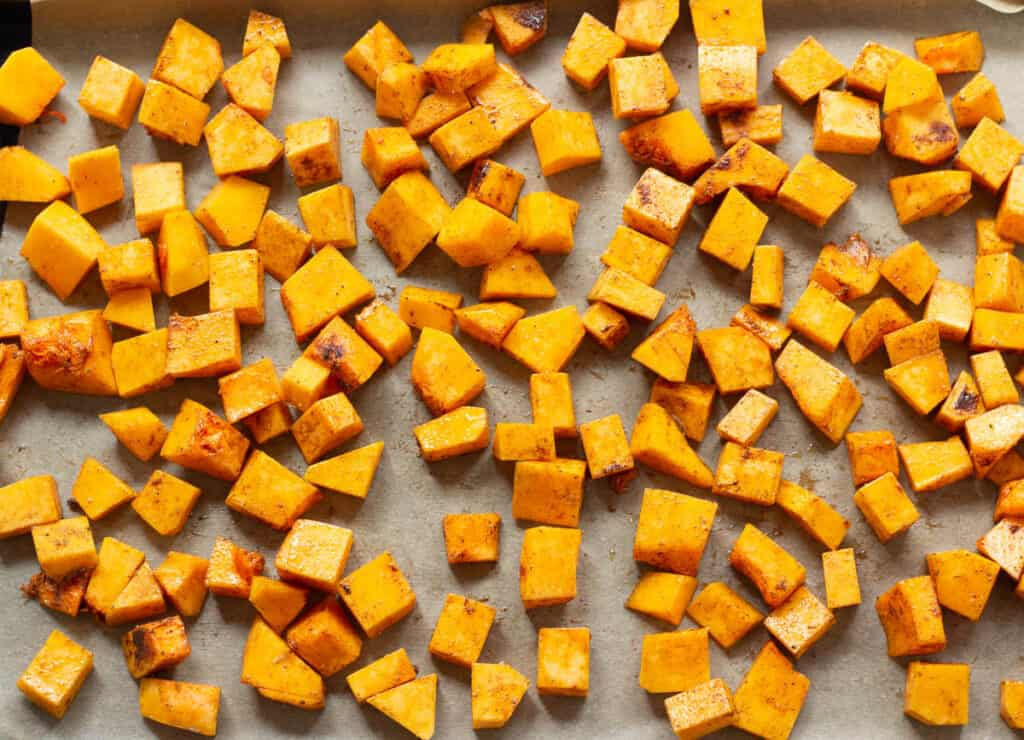 butternut squash on baking pan ready for roasting