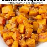 roasted butternut squash with cinnamon and herbs