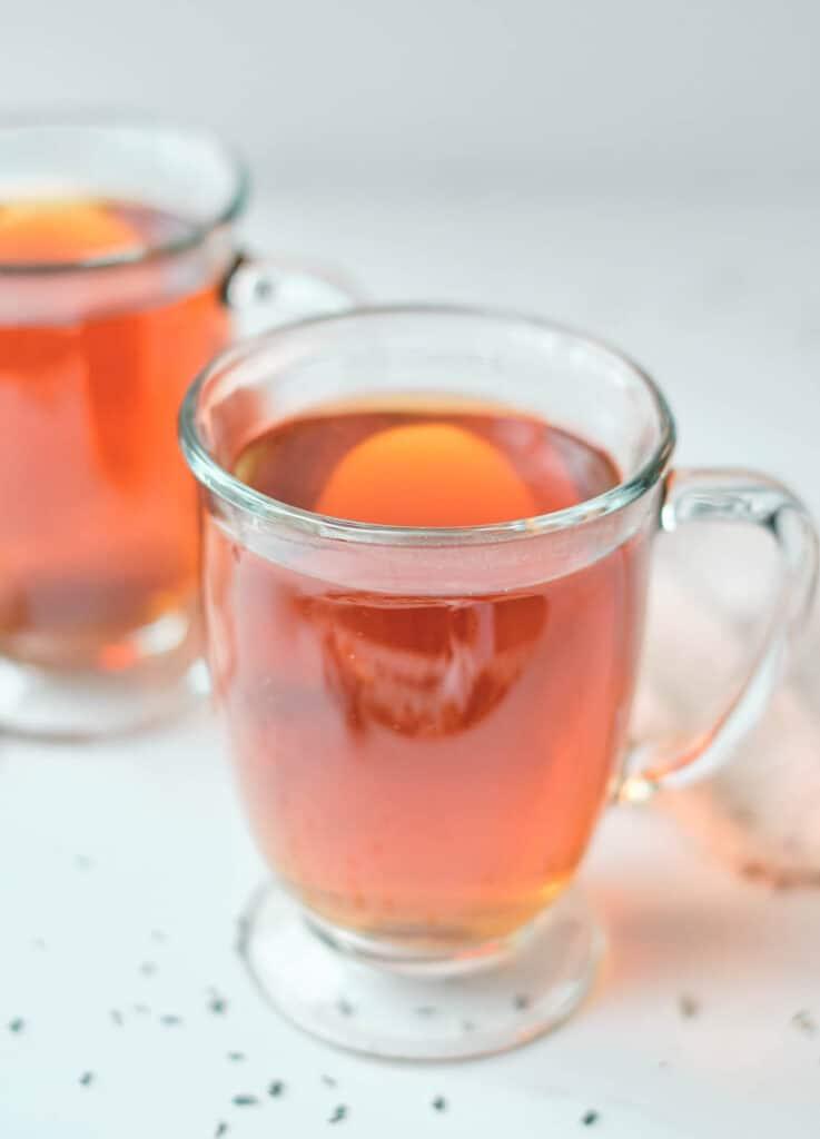 tea in glass mugs