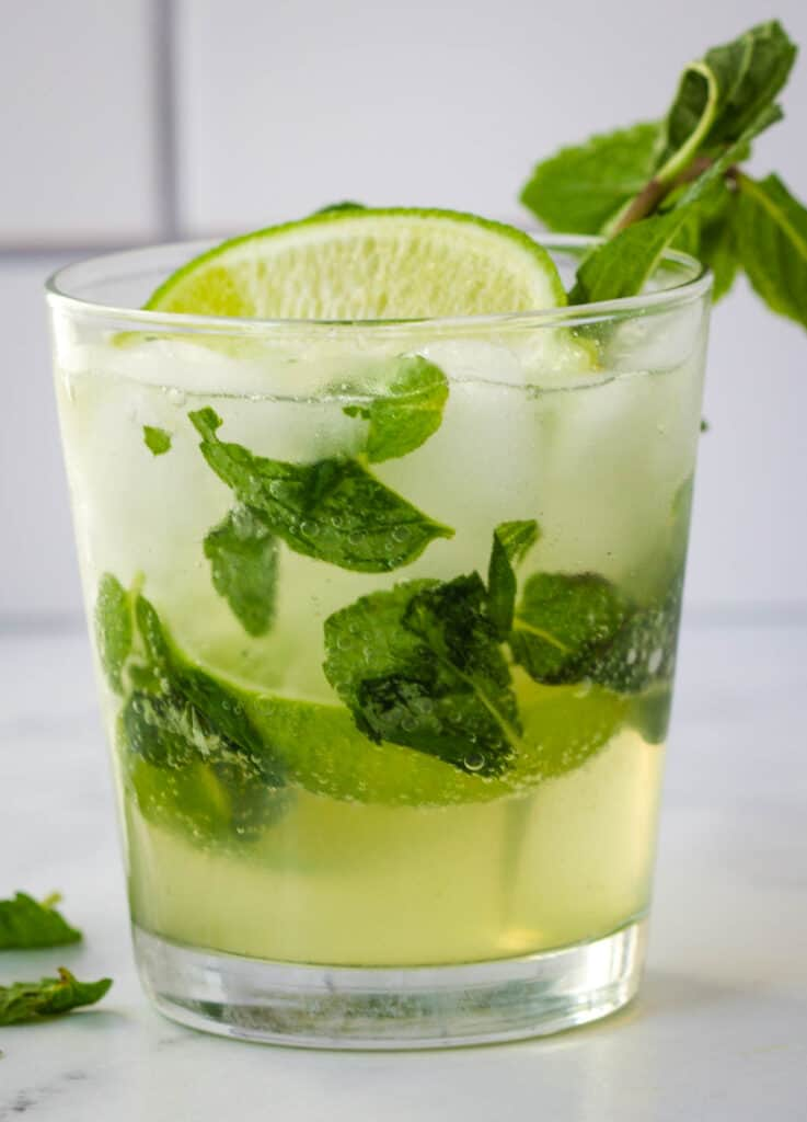 mojito mocktail garnished with mint and lime in a rocks glass