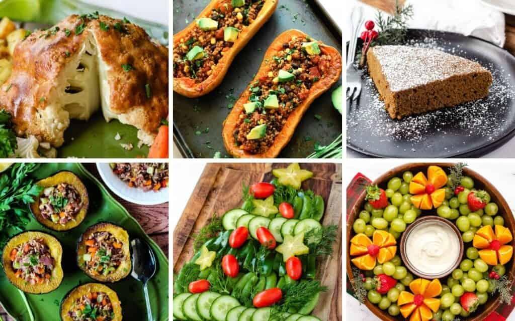 plant-based Christmas dinner collage: roasted cauliflower, roasted butternut squash, ginger cake, roasted acorn squash, Christmas tree veggie platter, Christmas wreath fruit platter