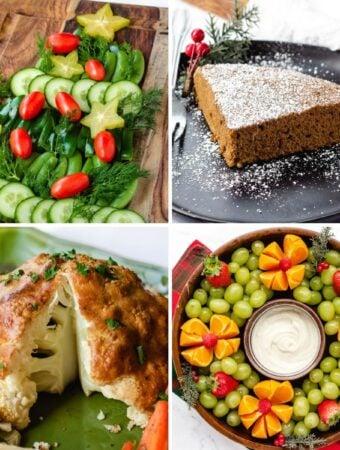 plant-based Christmas dinner collage, christmas tree veggie platter, ginger cake, fruit platter, roasted cauliflower