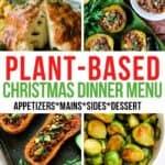 plant-based Christmas dinner menu collage