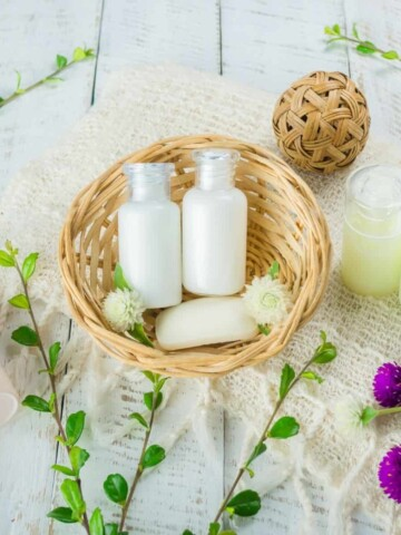 vegan hair products in basket