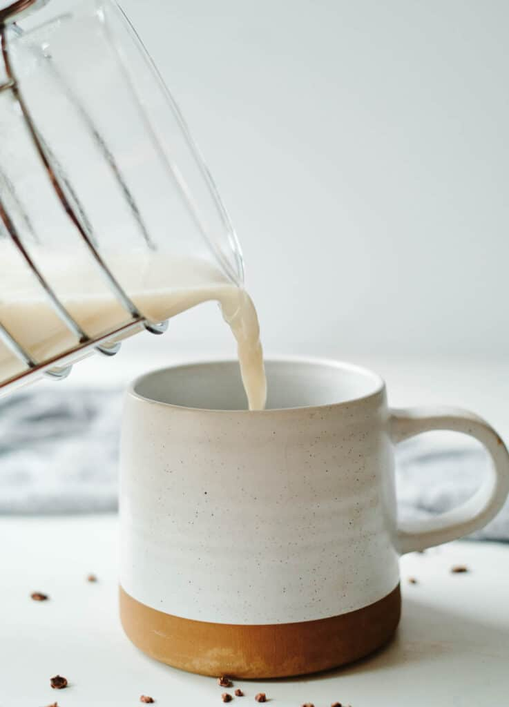 milk poured into mug