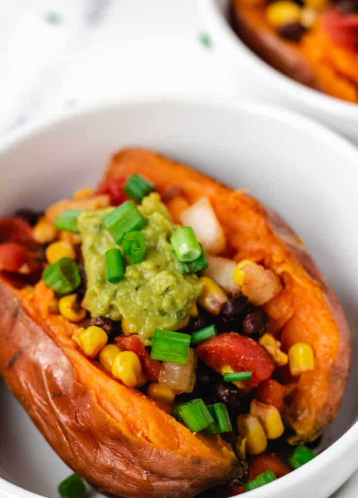 close up of vegan loaded sweet potato