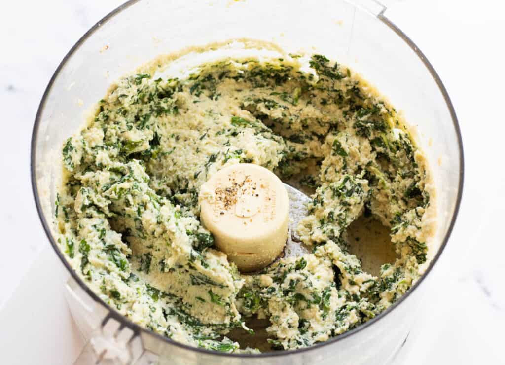 cashew ricotta with spinach in food processor