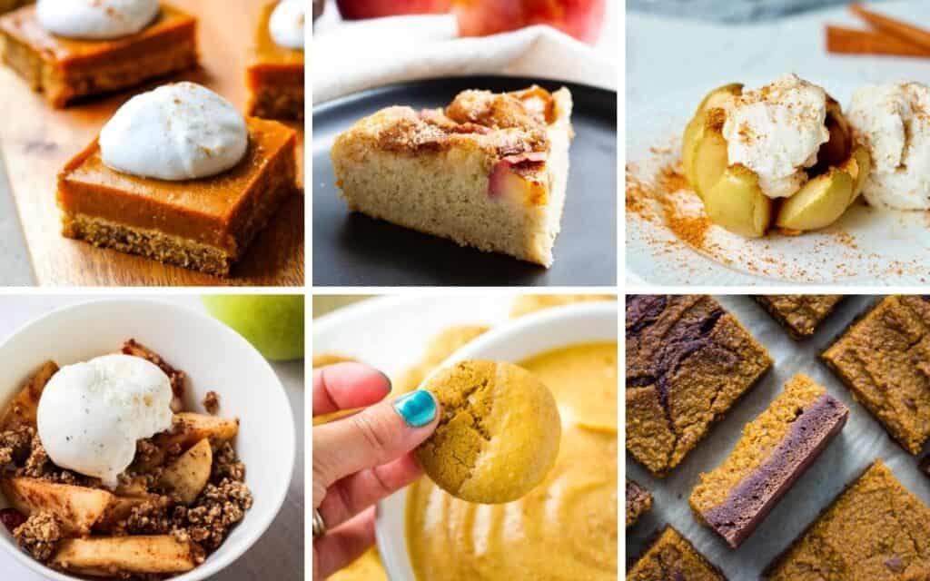 collage of vegan thanksgiving desserts including pumpkin bars, apple cake, baked apple, apple crisp, pumpkin dip, and pumpkin brownies