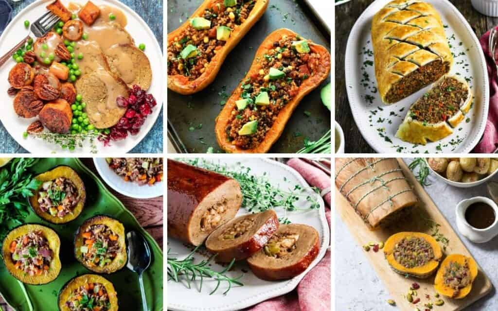vegan turkey alternatives: vegan roast, stuffed butternut squash, vegan wellington, stuffed acorn squash, stuffed seitan roast