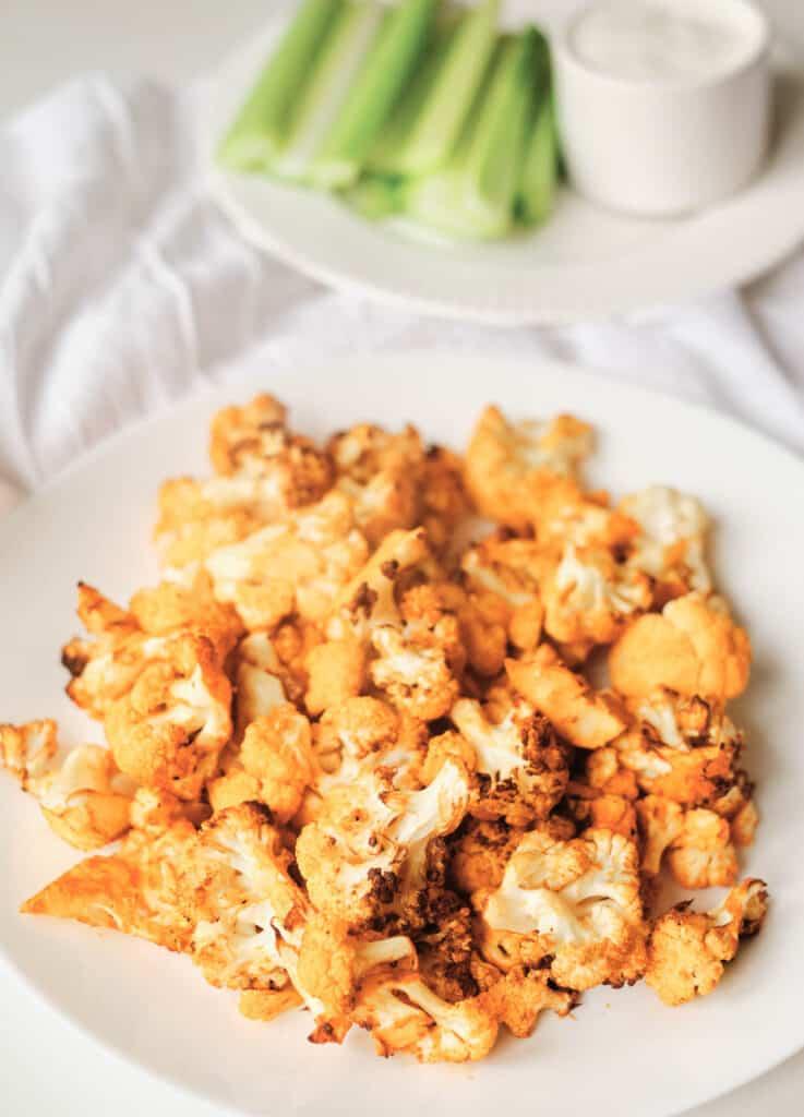 crispy cauliflower in white plate
