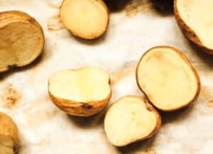 baked yukon gold potatoes on baking sheet