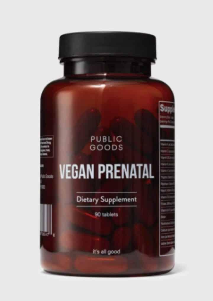 best vegan multivitamins: public good vegan prenatal