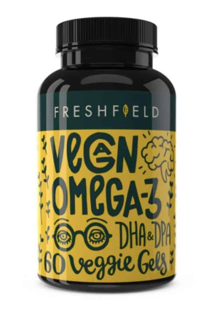bottle of freshfield vegan omega-3 DHA and DPA