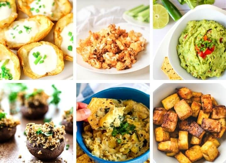 vegan party snacks collage: potato skins, buffalo cauliflower, guacamole, stuffed mushrooms, spinach artichoke dip, and tofu bites