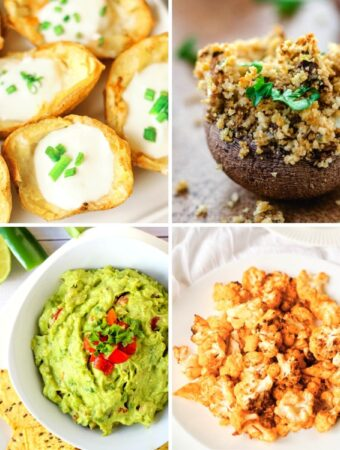 vegan party snacks: potato skins, stuffed mushrooms, guacamole, buffalo cauliflower