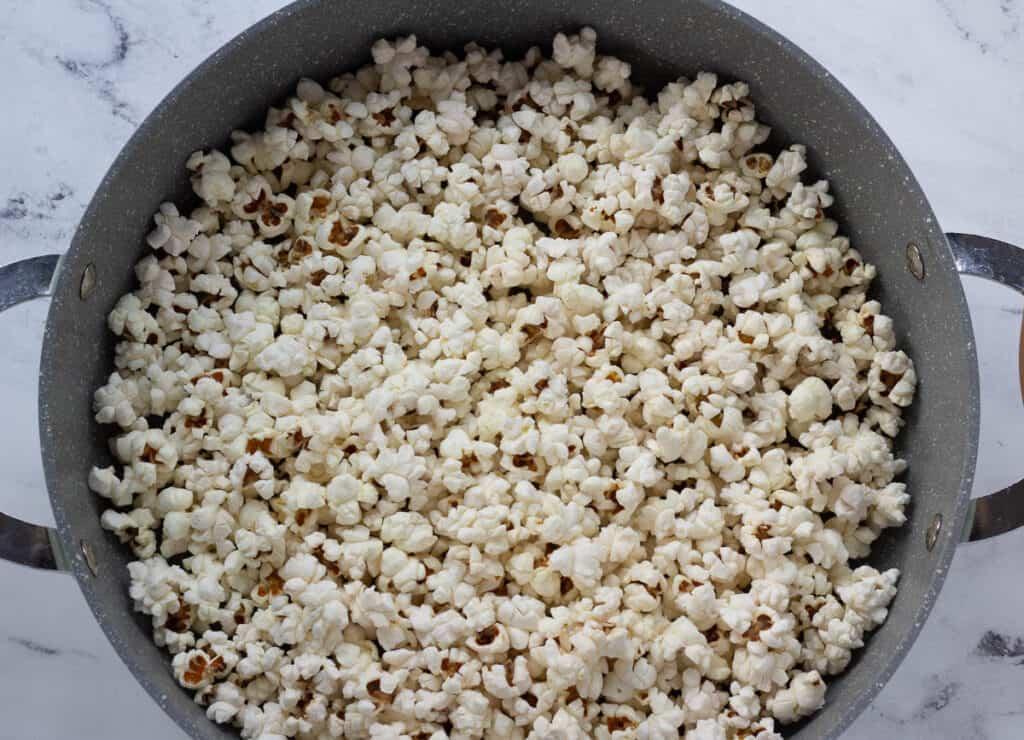 large pot filled with vegan popcorn