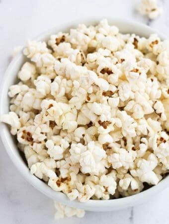 vegan popcorn in white bowl
