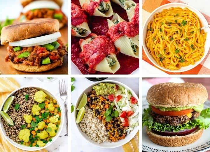 veganuary recipes collage: sloppy joe, stuffed shells, pumpkin pasta, cauliflower curry, burrito bowls, black bean burgers