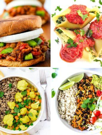 veganuary recipes: sloppy joes, stuffed shells, cauliflower curry, burrito bowls