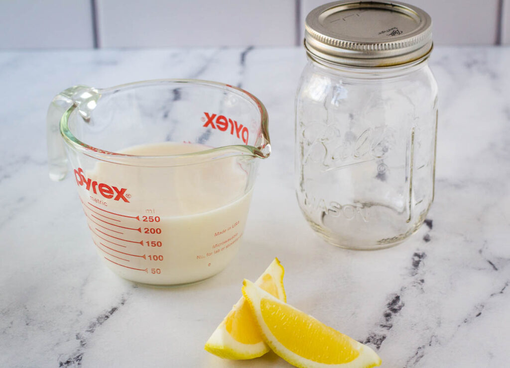 plant milk, lemon slices, and mason jar on marble counter top