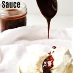 vegan chocolate sauce drizzled on top of vanilla ice cream