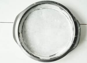 cake pan lined with parchment paper