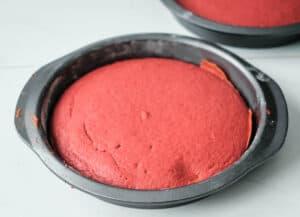 red velvet cake cooling in cake pan