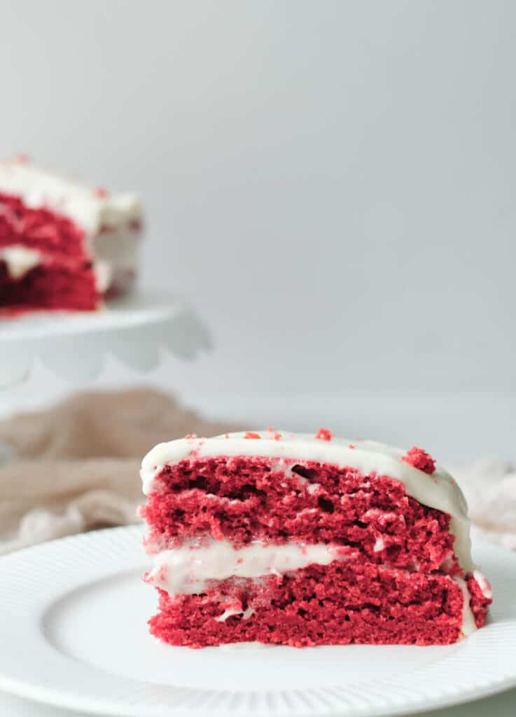 slice of red velvet cake on white plate