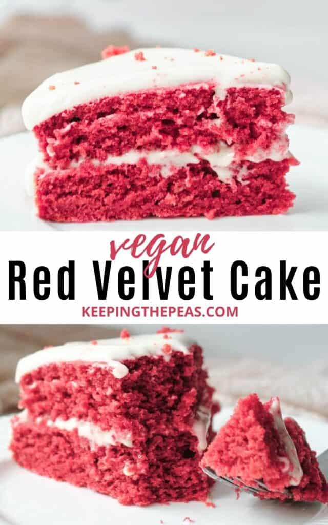 slice of vegan red velvet cake