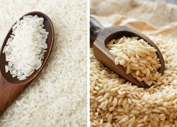 two photos white rice in a wood spoon on the left, and and brown rice  on a wooden spoon on the right