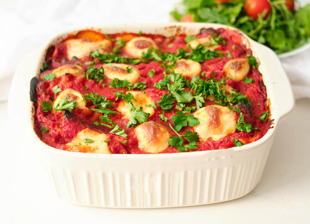 gluten-free vegan lasagna in baking dish