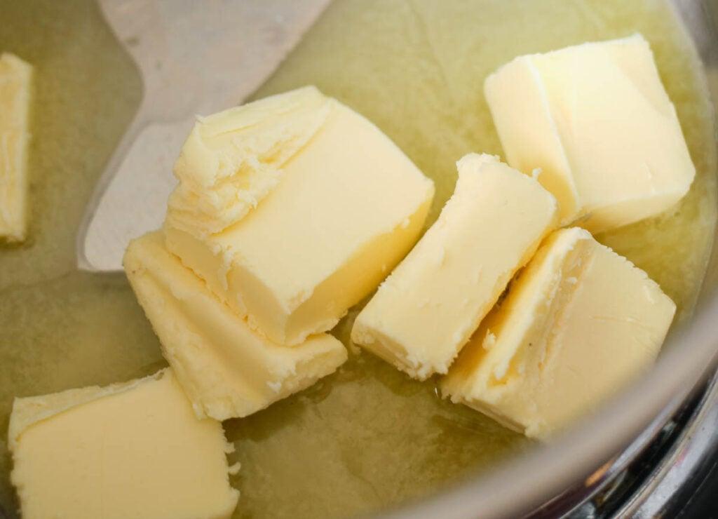 butter melting in pot