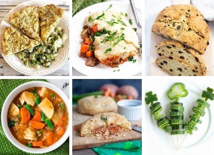 vegan Irish recipes collage: potato pie, shepherd's pie, soda bread, Irish stew, pastry, shamrock veggie skewer