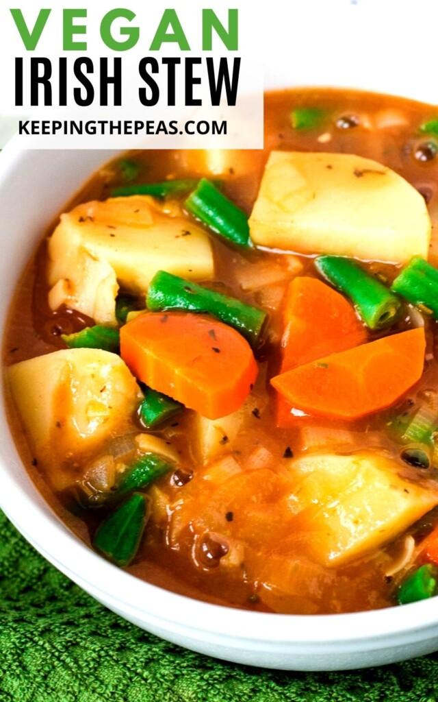 vegan Irish stew in white bowl