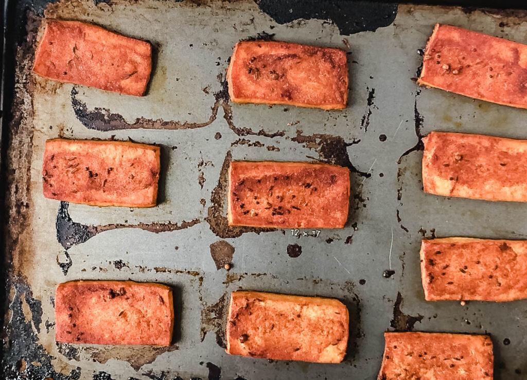 baked tofu on baking sheet