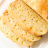 vegan lemon loaf slices on white plate