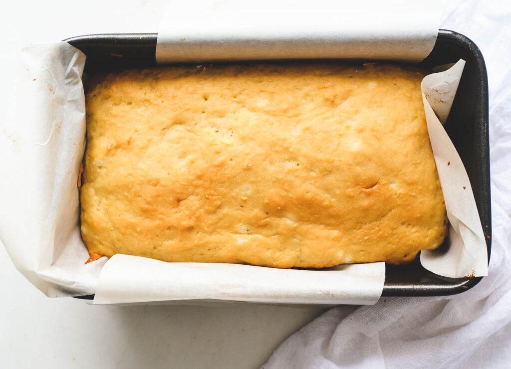 lemon loaf cooling in loaf pan