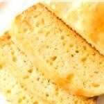 vegan lemon loaf slices on plate