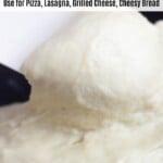 vegan mozzarella on spatula