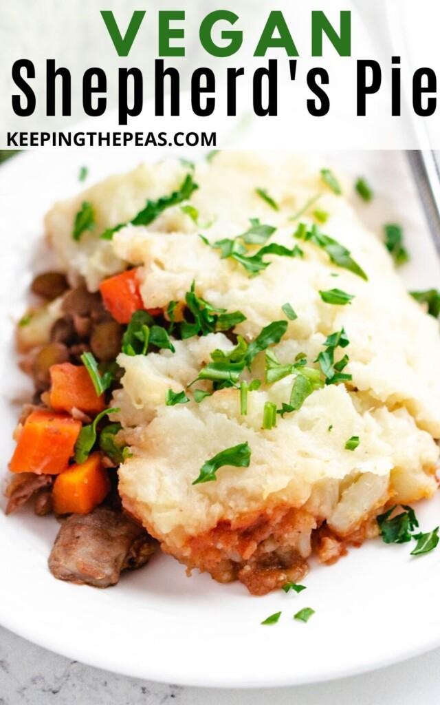 serving of vegan shepherd's pie on white plate