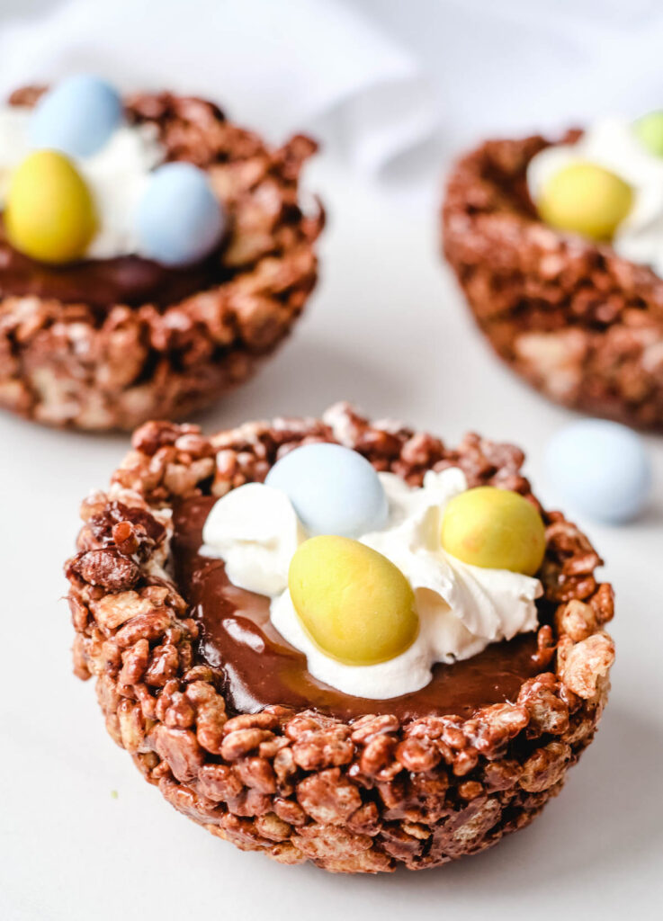 chocolate birds nest cookies filled with chocolate ganache and eggs