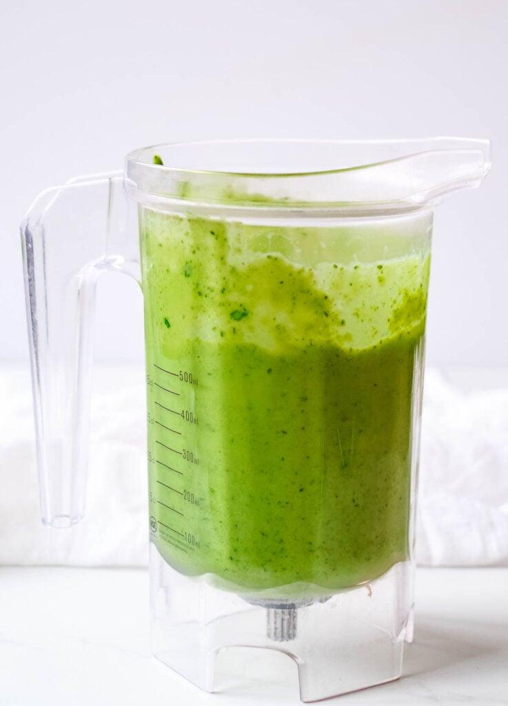 blended green smoothie in blender