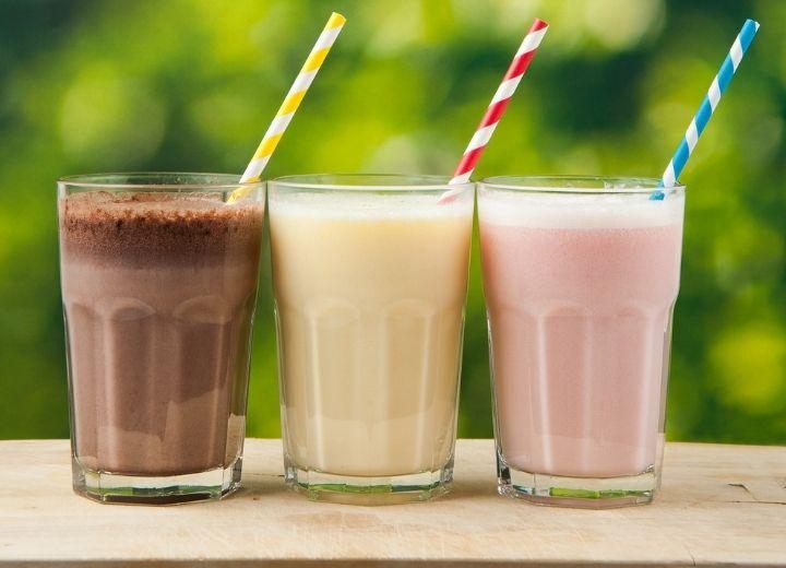 chocolate, vanilla, and strawberry coconut milkshakes
