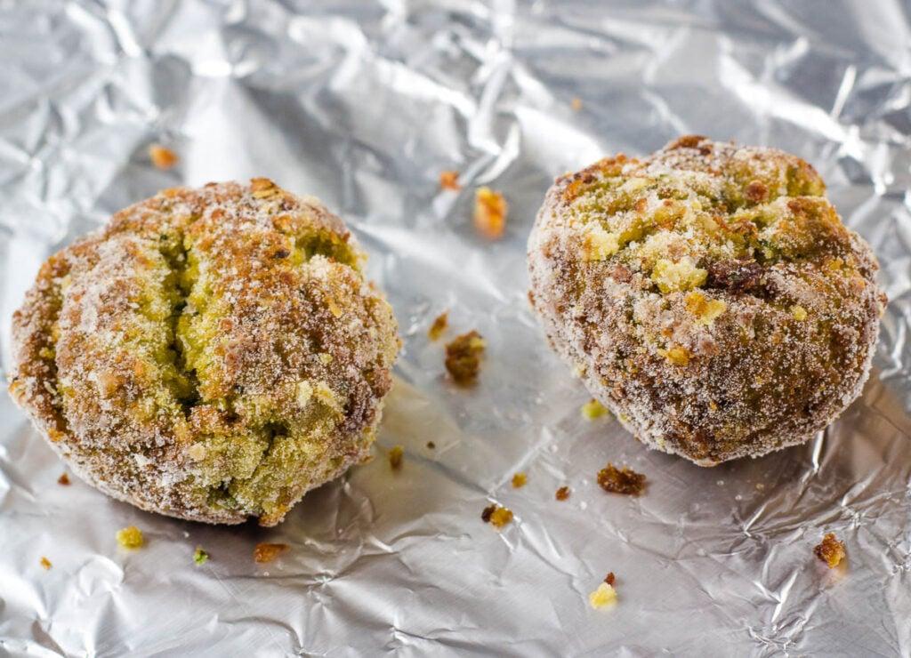 falafel balls on aluminum foil baking sheet