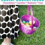 girl in polka dot dress holding purple vegan easter basket