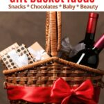 vegan gift basket wrapped in red ribbon with wine and packages