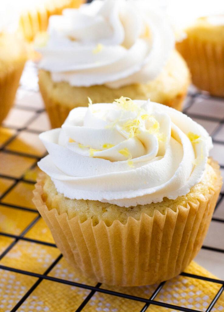 vegan lemon cupcake topped with lemon zest