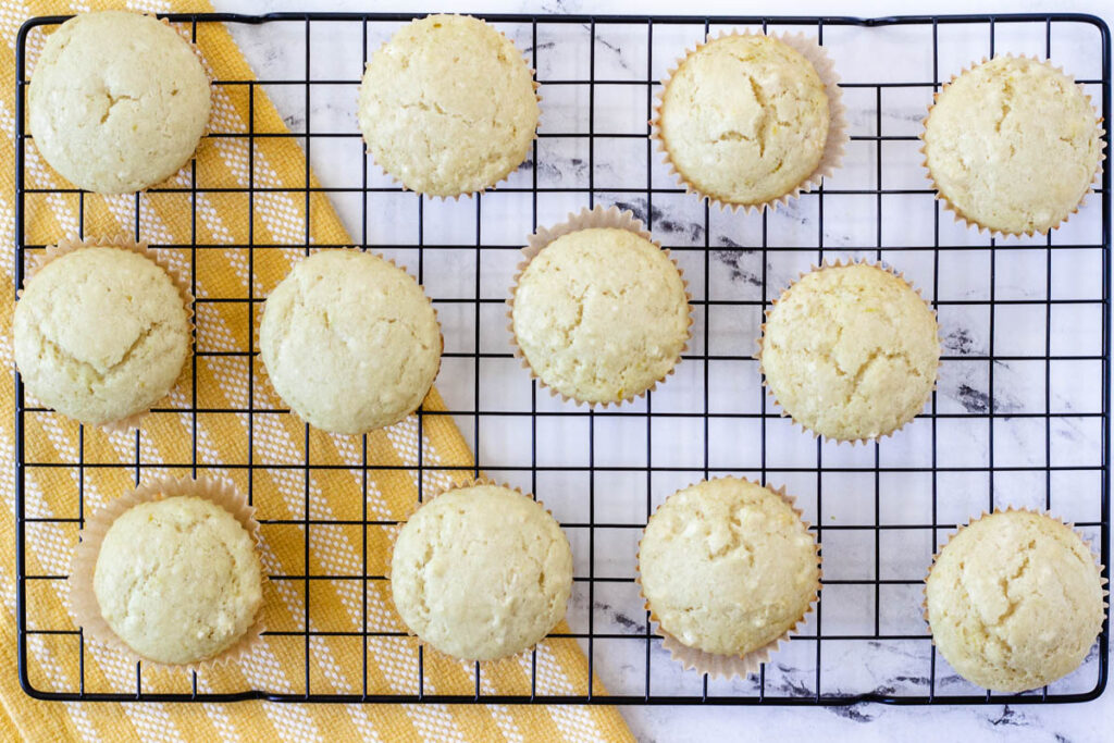 baked lemon cupcakes on cooling rack without frosting