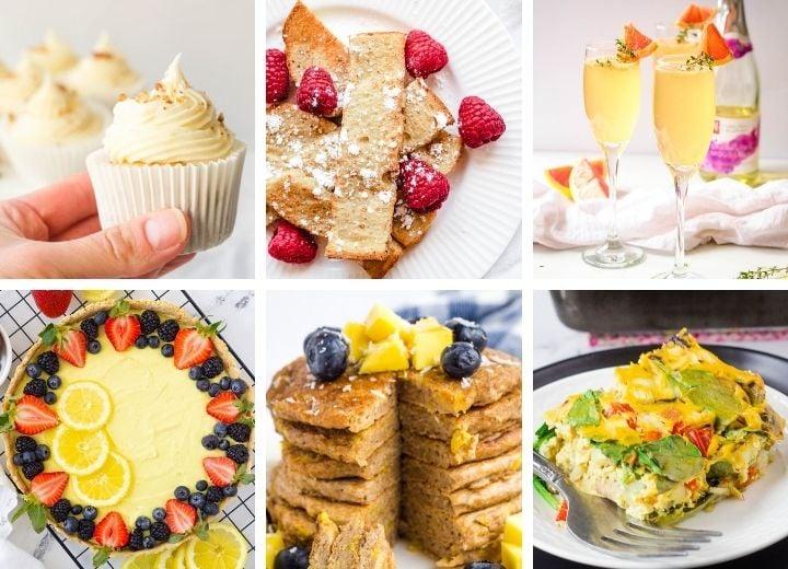vegan Mother's Day recipes: carrot cake cupcakes, French toast sticks, grapefruit mimosa, lemon tart, mango cupcakes, vegan egg casserole