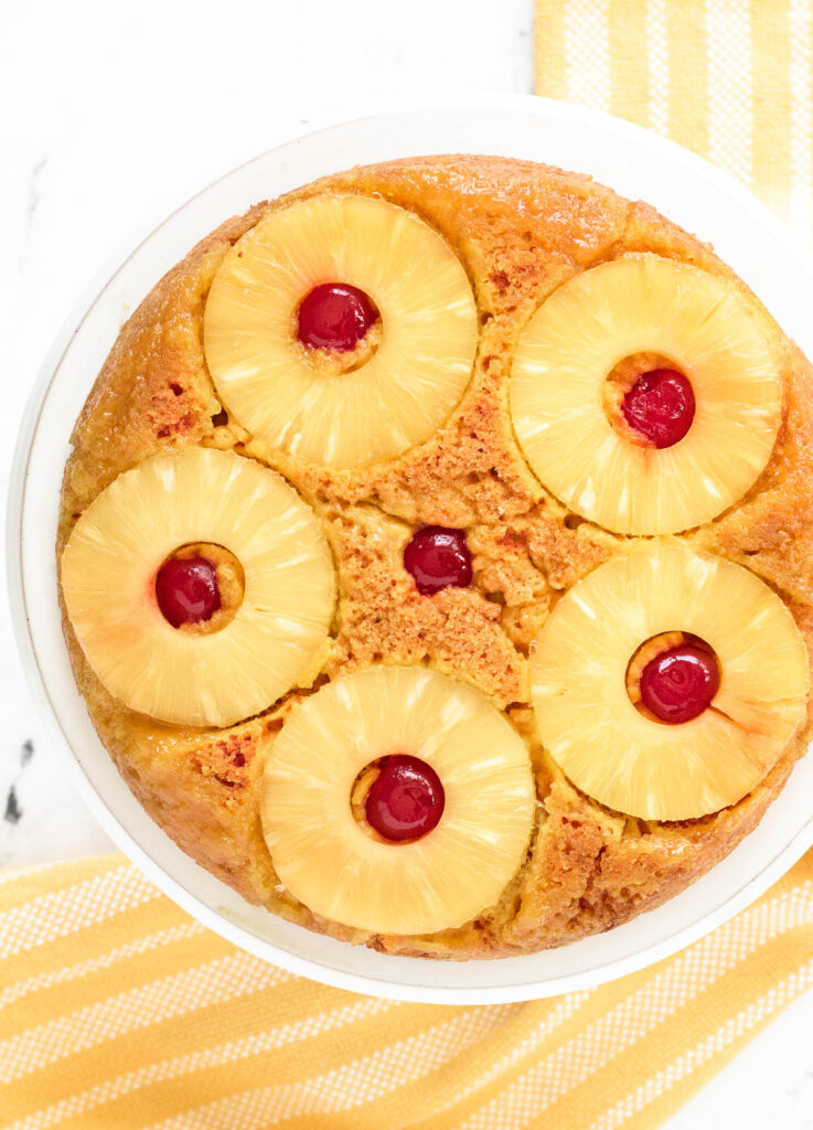 vegan pineapple upside down cake overhead